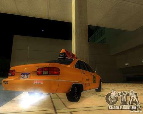Chevrolet Caprice Taxi 1991 para GTA San Andreas traseira esquerda vista