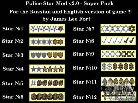 Novas estrelas para o capuz # 8 para GTA San Andreas