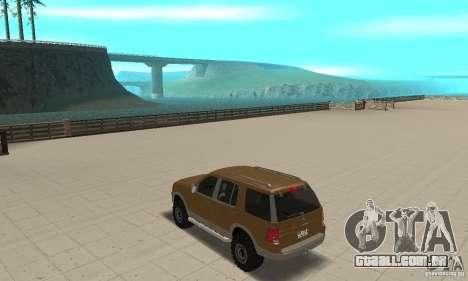 Ford Explorer 2002 para GTA San Andreas traseira esquerda vista