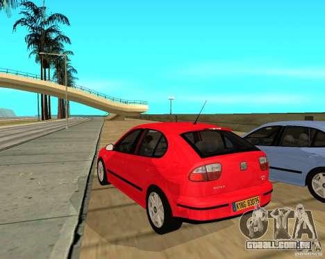 Seat Leon 1.9 TDI para GTA San Andreas traseira esquerda vista