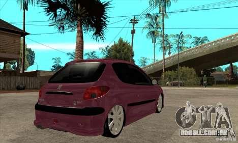 Peugeot 206 Suspen AR para GTA San Andreas vista direita