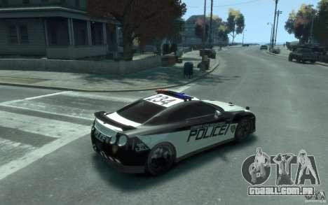 Nissan GT-R R35 Police para GTA 4 vista direita