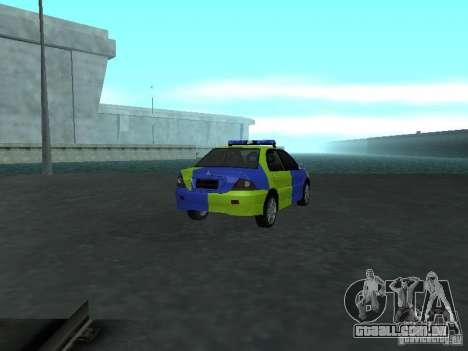 Polícia de Mitsubishi Lancer para GTA San Andreas traseira esquerda vista