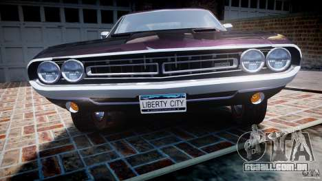 Dodge Challenger 1971 RT para GTA 4 vista inferior