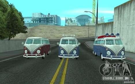Volkswagen Transporter T1 SAMBAQ CAMPERVAN para GTA San Andreas vista traseira