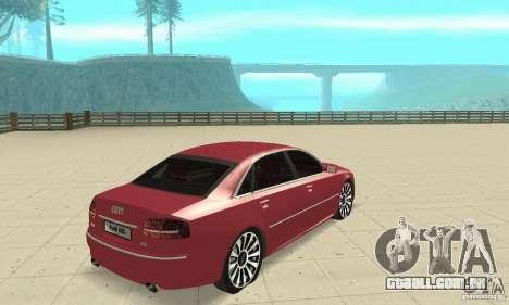 Audi A8L 4.2 FSI para GTA San Andreas esquerda vista