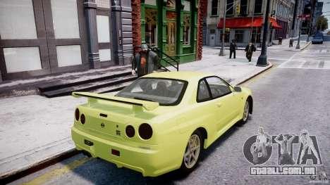 Nissan Skyline R-34 V-spec para GTA 4 rodas