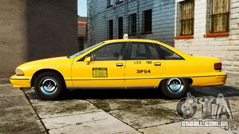 Chevrolet Caprice 1991 LCC Taxi para GTA 4 esquerda vista