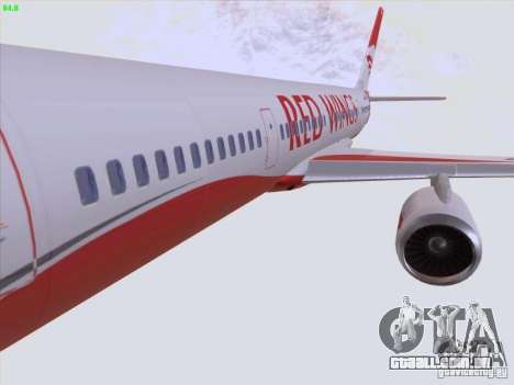 Tupolev Tu-204 Red Wings Airlines para GTA San Andreas vista inferior
