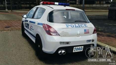 Peugeot 308 GTi 2011 Police v1.1 para GTA 4 traseira esquerda vista