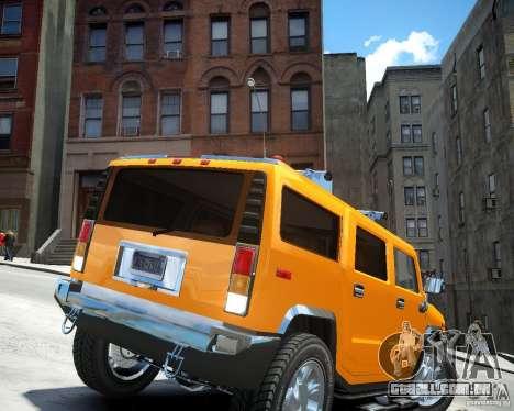 Hummer H2 2010 Limited Edition para GTA 4 traseira esquerda vista