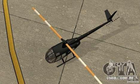 Robinson R44 Raven II NC 1.0 preto para GTA San Andreas vista traseira