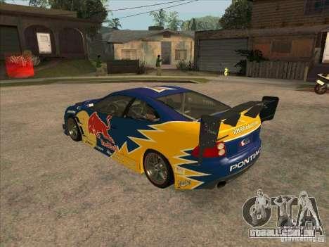 Pontiac GTO Red Bull para GTA San Andreas traseira esquerda vista