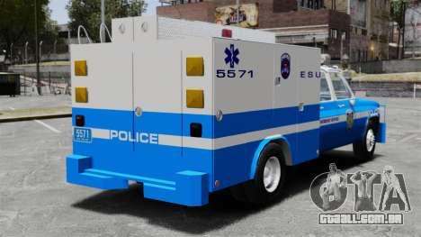 GMC C3500 NYPD ESU para GTA 4 traseira esquerda vista