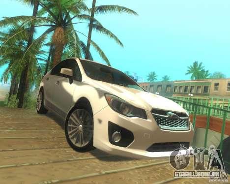 Subaru Impreza Sedan 2012 para GTA San Andreas traseira esquerda vista