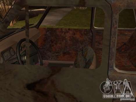 ZAZ-968 abandonado para GTA San Andreas traseira esquerda vista