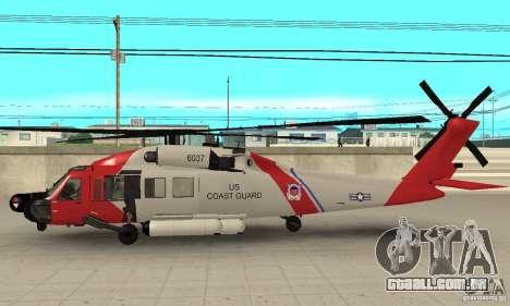 HH-60 Jayhawk USCG para GTA San Andreas traseira esquerda vista