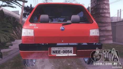 Fiat Uno Mile Fire Original para GTA San Andreas esquerda vista