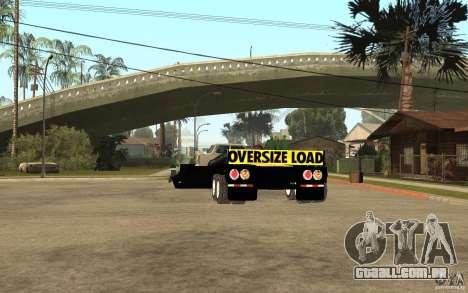 Trailer lowboy transport para GTA San Andreas traseira esquerda vista