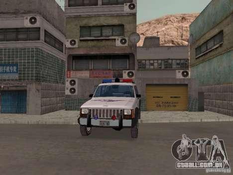 Jeep Cherokee Police 1988 para GTA San Andreas vista interior