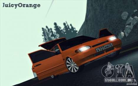 Ваз 2114 suculenta laranja para GTA San Andreas vista interior