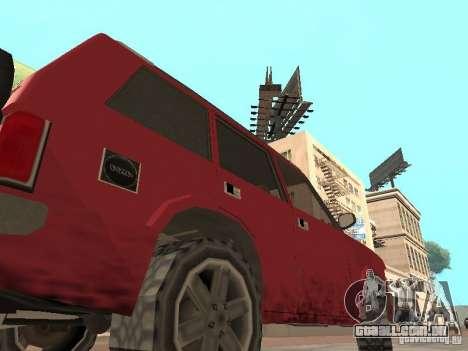 O novo Huntley para GTA San Andreas traseira esquerda vista