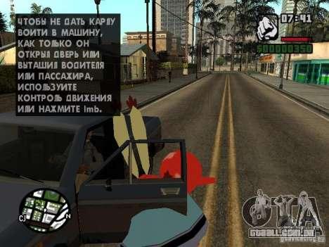 O Sr. Siriguejo para GTA San Andreas oitavo tela