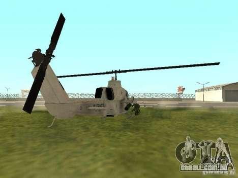 AH-1 Supercobra para GTA San Andreas traseira esquerda vista