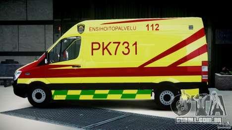 Mercedes-Benz Sprinter PK731 Ambulance [ELS] para GTA 4 esquerda vista