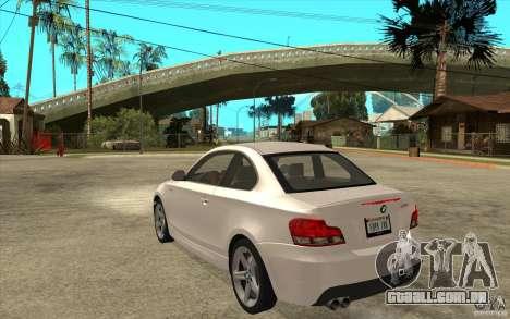 BMW 135i Coupe para GTA San Andreas vista direita