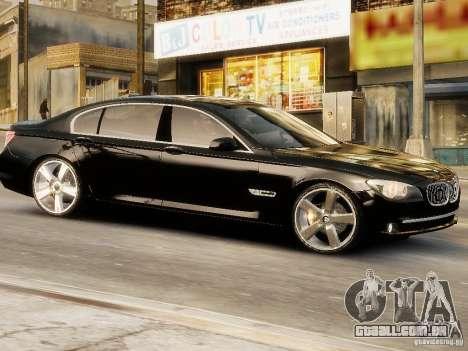 BMW 750 LI 2010 para GTA 4 traseira esquerda vista