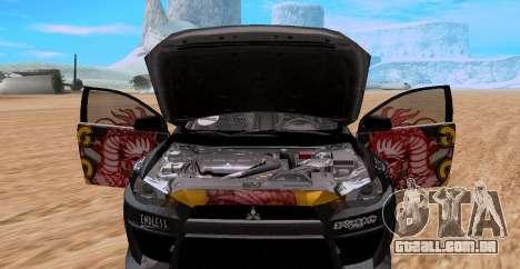 Mitsubishi Lancer Evolution RYO Vatanabe para GTA San Andreas traseira esquerda vista