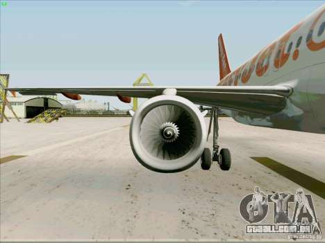 Airbus A319 Easyjet para vista lateral GTA San Andreas