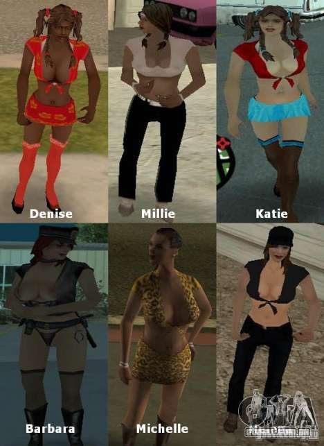New Girlfriends Mod para GTA San Andreas