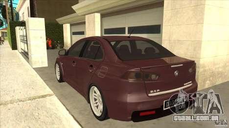 Proton Inspira v1 para GTA San Andreas traseira esquerda vista