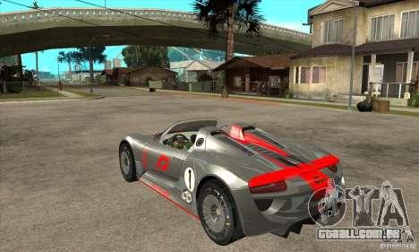 Porsche 918 Spyder para GTA San Andreas traseira esquerda vista