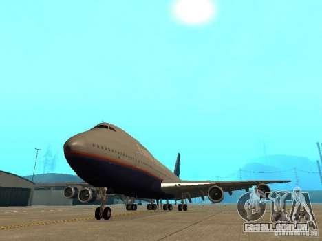Boeing 747-100 United Airlines para GTA San Andreas vista traseira