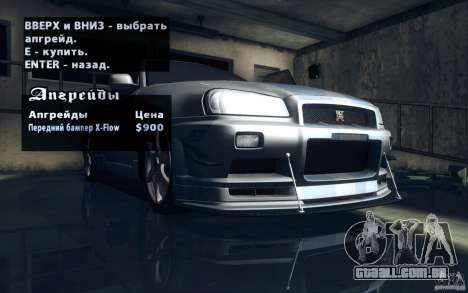 Nissan Skyline GTR R34 VSpecII para GTA San Andreas interior