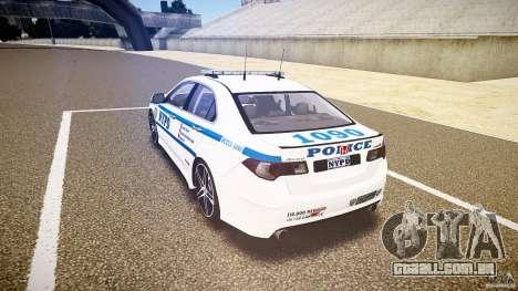 Honda Accord Type R NYPD (City Patrol 1090) ELS para GTA 4 traseira esquerda vista