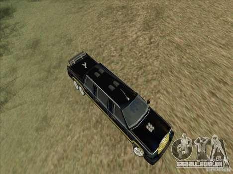 Limousine para GTA San Andreas vista interior