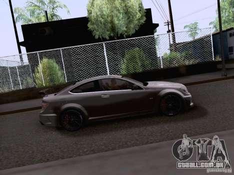Mercedes-Benz C63 AMG Coupe Black Series para GTA San Andreas traseira esquerda vista