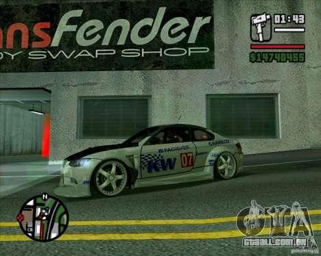 Bmw M3 2008 E92 para GTA San Andreas esquerda vista