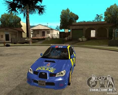 Subaru Impreza STi police para GTA San Andreas vista traseira