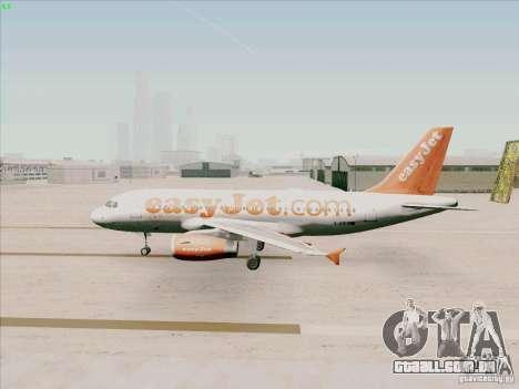 Airbus A319 Easyjet para GTA San Andreas traseira esquerda vista