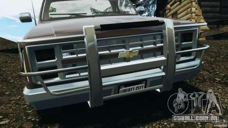 Chevrolet Silverado 1986 para GTA 4 vista inferior