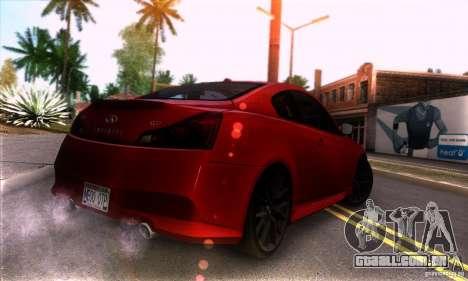 Infiniti IPL G Coupe 2012 para GTA San Andreas vista direita