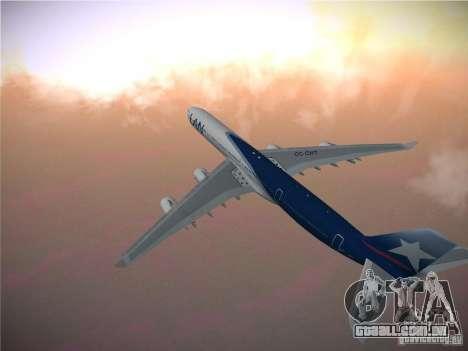 Airbus A340-600 LAN Airlines para GTA San Andreas vista traseira