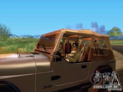 Jeep Wrangler 1994 para GTA San Andreas traseira esquerda vista