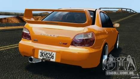 Subaru Impreza WRX STI 2005 para GTA 4 traseira esquerda vista