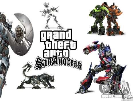 Imagens de inicialização no estilo de transforma para GTA San Andreas
